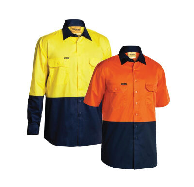 Bisley Two-Tone Hi Vis Cool Lightweight Drill Shirt BS6895