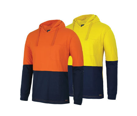 JB's Hi Vis L/S Cotton Tee With Hood 6HCTL